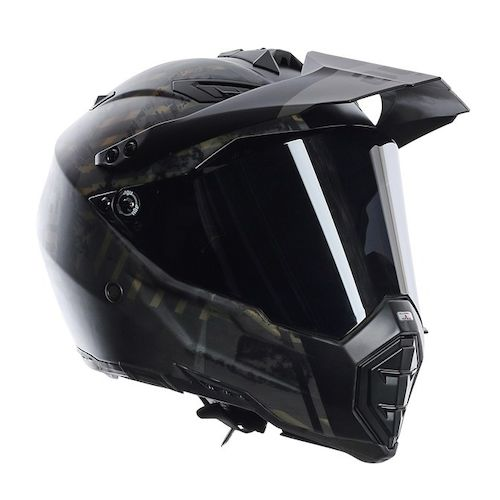 AGV AX-8 DS EVO Grunge Helmet  The AGV AX-8 DS EVO Helmet has taken one of the most high-end and lightweight dualsport helmets on the market (AX-8 DS) and has made some significant upgrades. Additional technical features like the visor and visor mechanism, a chin air vent that can be opened, and an open-able supplementary ventilation on the top of the AGV AX-8 EVO guarantee all the performance and comfort of a road model.  The AX-DS EVO features internal padding with increased thickness for improved comfort and greater stability. The shape for the outer shell in the chin area combined with a wider and softer base edge compared to the previous model reduces interference with any back protector used and decreases risks of impact traumas, thanks to its shock-absorber function.  Features:  ·         SSL (Super Super Light) carbon, Kevlar and fiberglass shell construction  ·         IVS (Integrated Ventilation System) funnels air though channels in the outer shell  ·         Flat dual face shield in non-scratch, antifog polycarbonate  ·         Dry-Lex internal padding with sanitized treatment  ·         Removable and washable cheek pads and internal lining