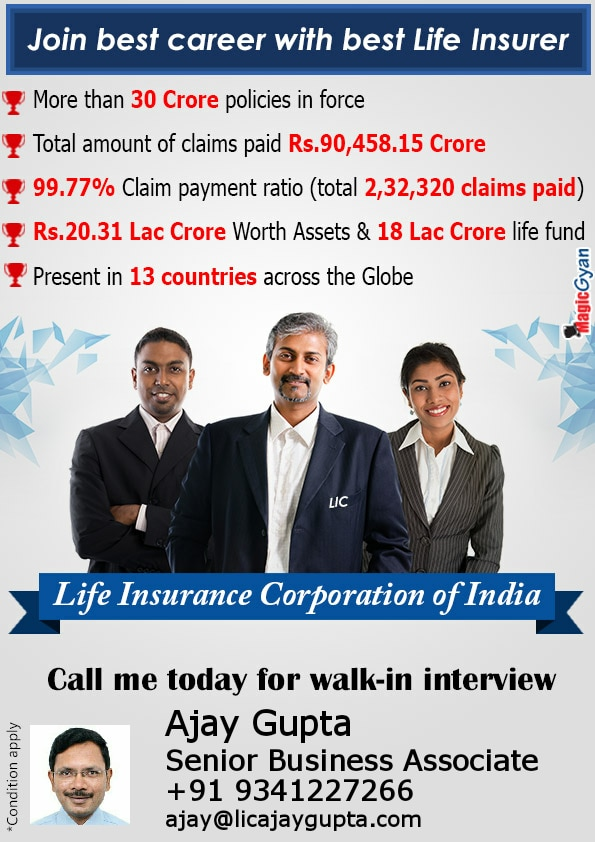 Become an LIC Advisor. Have the privilege of choosing your working hours and then earn as per your potential. Its a freelance marketing job with attractive commissions not only at the time of sale but also as long as the policy is in force