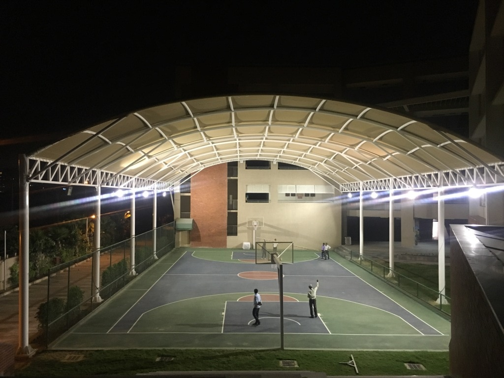 Basketball court covering  Imported Fabric with 5 to 15 year warranty.