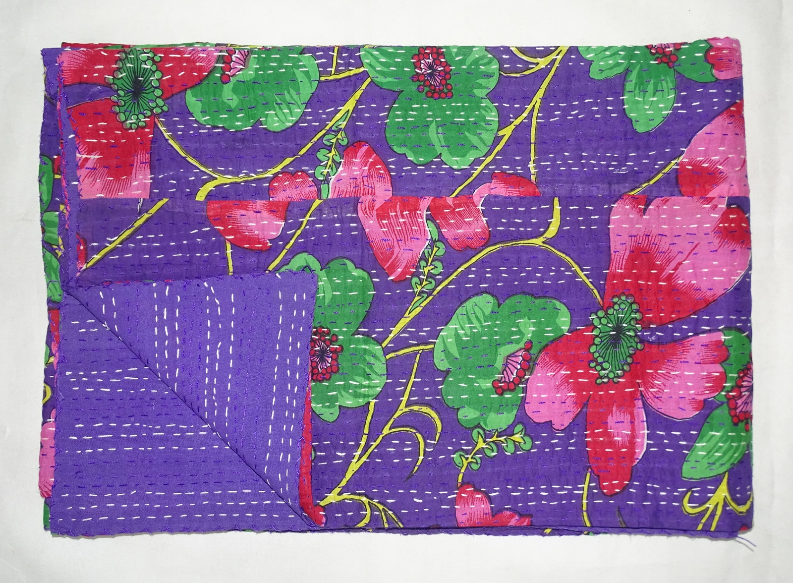 Indian Kantha Quilt   Indian Kantha Quilt Cotton Twin Size Bedsheet Handmade Floral Purple Bedspread Throw   Size:- 60x90.Inch (Twin) Material:- Cotton  Pattern:- Floral Color:- Purple
