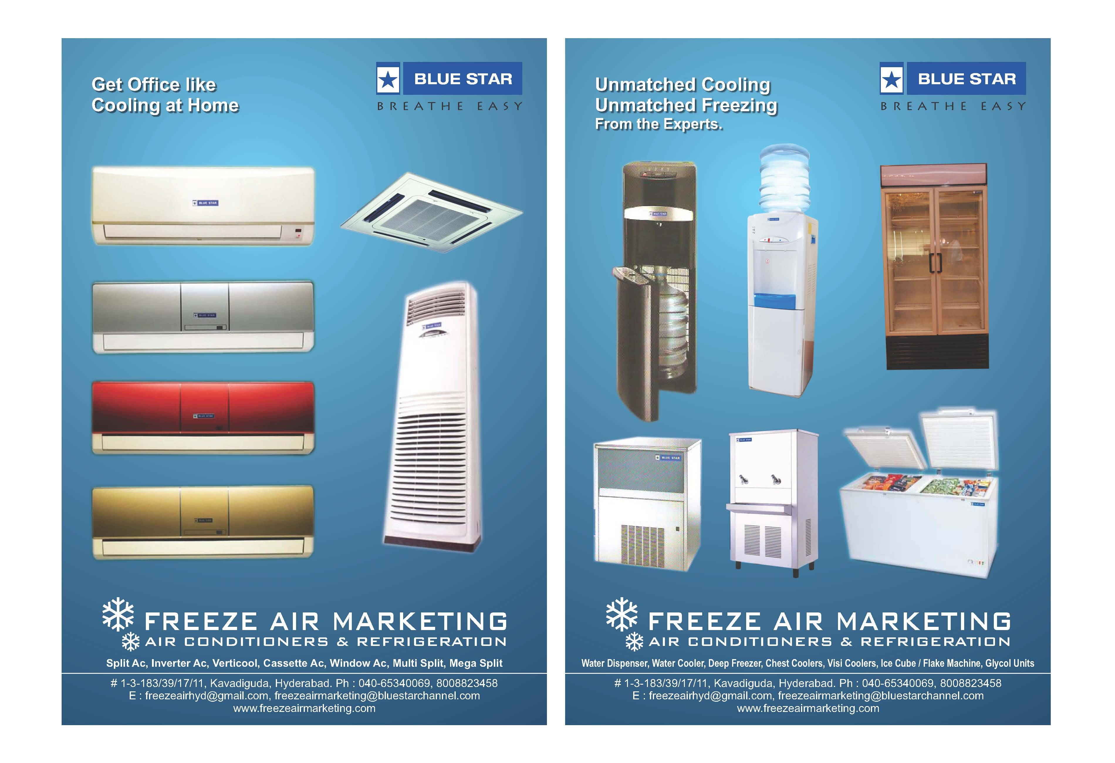 Vestar and Blue Star Air conditioner dealers,  Split, window, cassette, floor standing or VRF, starts from 1ton to 8ton. With copper kit, 5 years warranty on compressor. call us for discounted price. Air conditioners in hyderabad.