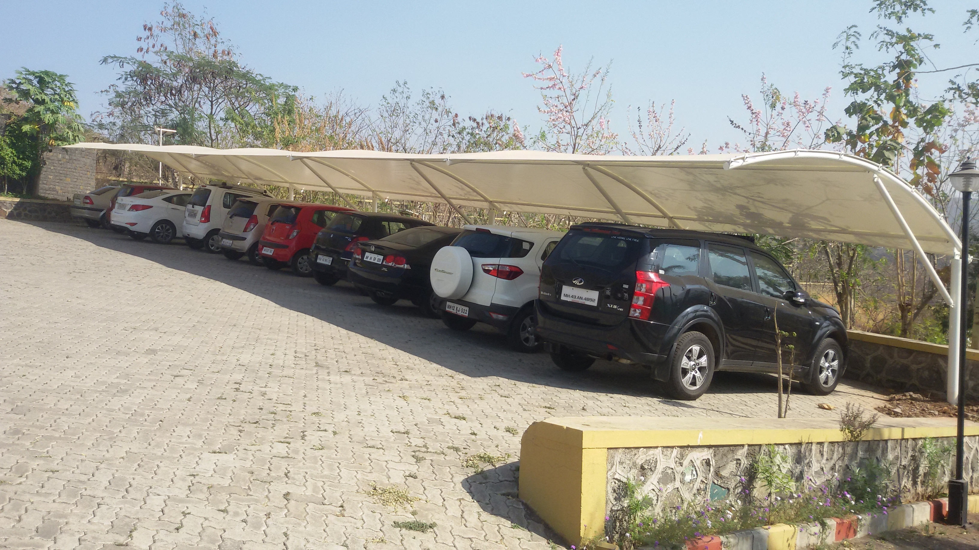 beautiful car parking shade manufacturing supply and installation just last few days we finish this projects at wildernest resort at donje pune