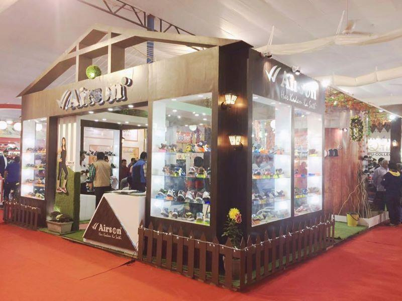 Exhibition stall Fabrication done by Saatvik Events. Footwear India Expo @ Japanese Park, Rohini. Award Winner Stall - Unique Stall of the expo.