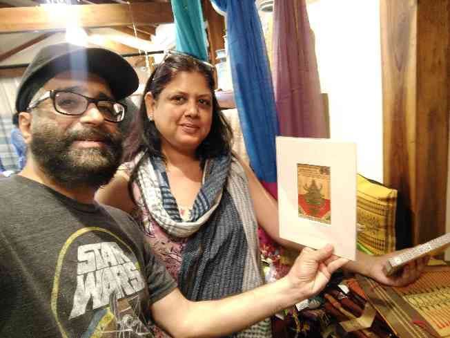 Discovering original textile labels from 1800s at Artisans in Colaba in Mumbai