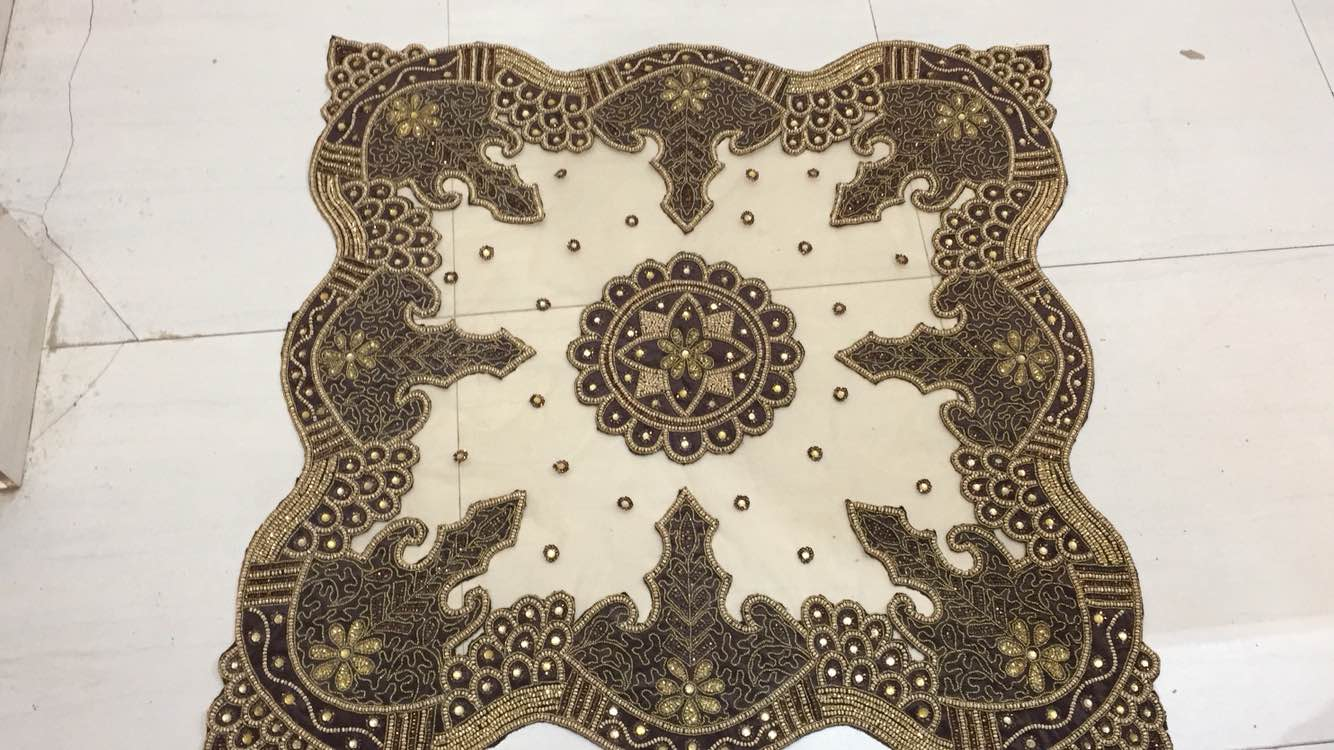 This hand made patchwork table cover We use in pachwork table INDIAN beads and this pachwork table cover manufacture  by hand work This pachwork work table cover make velvet pachwork table cover
