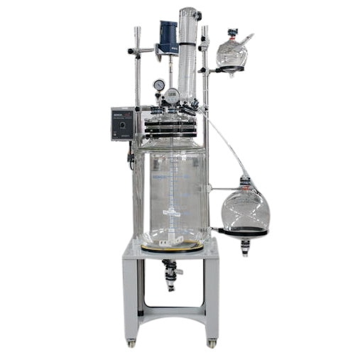 Senco Glass reactors , Jacketed Glass Reactor  Full Product Description Glass reactor in Hyderabad by kd traders Description FC150-03  Senco Glass reactors are developed by sticking to the basics, keeping in mind safety of the user and focusing on giving desired results. They enable to achieve desired results affordably and are backed by trustworthy service. The Cap Style reactor is simple yet accurate, basic yet precise, up to the mark on performance and friendly on budget.  glass reactor in Hyderabad by kd traders These Jacketed Reactors are used for a variety of applications including: •	Common Chemical Reactions Liquid/Liquid, Liquid/Solid •	Distillations •	Reflux Boiling •	Azeotropic Distillation (Phase Separation) •	Evaporation to any desired consistency •	Multi-component Reactions •	Gas dispersion below liquid surface •	Crystallization •	Mixing •	And many more…. Glass reactor in Hyderabad by kd traders OPERATION  Necks on Flask Cap  Charging Neck F40– Pure charge process without gel pollution. Thermometer Neck F40– Digital Thermometer for direct temperature measurement. Condenser Neck S51– Ball joint connection, easy to assemble with less vibration. Drip System Neck F40 – Dripping system for adding solvents. Solid Feeding Neck F60/F80 – For addition of any solids during reaction Stirring Neck F60/F95 – For stirring  Spare Neck F40 – For any other user desired function.   Glass reactor in Hyderabad by kd traders  TECHNICAL SPECIFICATIONS FC150-03 Parameters Model	FC15003 Reaction Flask (L)	150L, Bottom Discharge No. of Necks on Cap	7 Flush Diameter (mm) Ø32 Rotation (rpm)	20-240 Max Torque (Ncm)	570 Diameter of Stirring Rod(mm)	Ø20 Power	220V Dimensions (cm) 130x80x290H   Glass reactor in Hyderabad by KD Traders   Functional Configurations  Charging Valve	PTFE Seal Assembly	PTFE Glass Joints	Flange Speed Control	Frequency Conversion Digital Display Temp., Rotation Speed Vacuum Meter	yes Side Discharge	yes Thermometer Tube	yes Solid Feeding Neck	yes Reflux Condensing	yes Drip System (L)	5L Distillation Receiving	Customizable  Rectification-Receiving Customizable  Liquid Separation	Customizable  Reaction vessel baffles Customizable  Tangent Style Jacket inlet/outlet	F40-M30x1.5 (customizable) Jacket Pressure release device	Optional System Pressure release device Optional Lockable Wheels	yes Ex-Proof/Air driven modifications	Available at request  Glass reactor in Hyderabad by kd traders