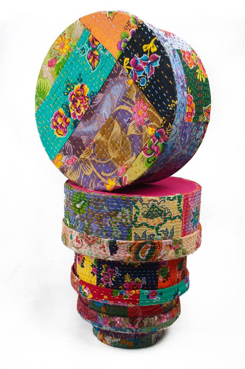 Handmade Paper Boxes  These Handmade Paper Boxes are Made from Kantha Work cloth. These are available in different sizes. This is a set of 5 boxes. These boxes are Made in India.   Handmade Paper Box, Kantha Work, Set of 5, Made in India.