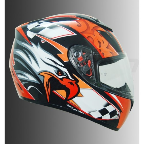 MT AXXIS EAGLE HELMET  A light-weight, dual-certified aggressive and sporty motorcycle helmet for all sports bike addicts.  Features:  ·         Aggressive tapered race style fit  ·         Aerodynamic contoured shell  ·         Dual Certification - ECE R22.05 and DOT  ·         Double-D Ring Fastening System  ·         Effective Venting in chin and top of Helmets  ·         Removable and washable hypo-allergenic cheek pads and liners  ·         Certified scratch-resistant optically corrected Visor  ·         Quick Release Tooless Visor Ratchets