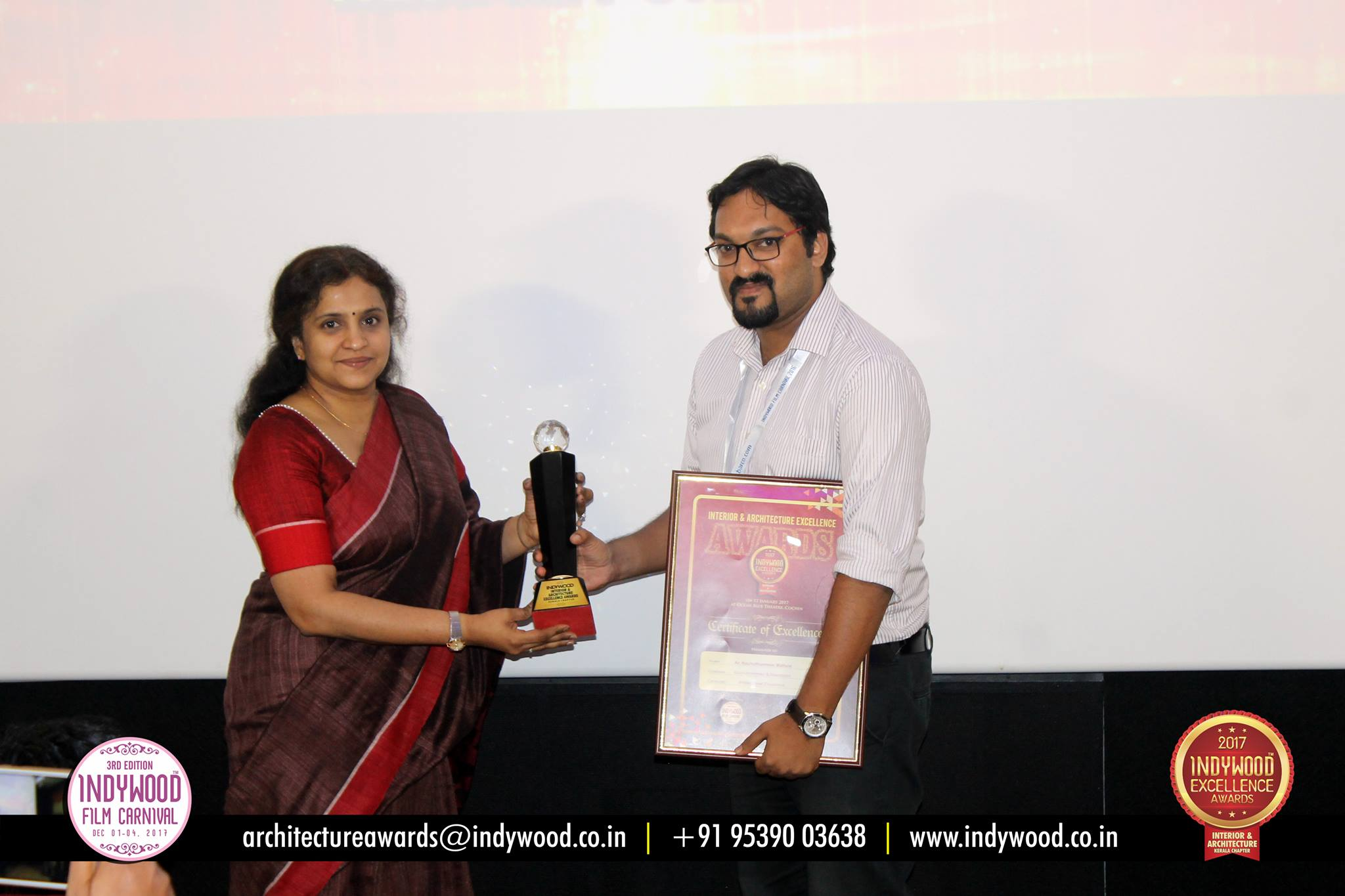 Indywood Interior & Architecture Excellence Awards - Kerala Chapter 2017 - Winner Joseph Oommen and Kochuthommen & Associates  Then Indywood Interior & Architecture Excellence Awards looks forward to honor individuals and firms whose works demonstrate a combination of talent, vision and workmanship thereby creating successful and enduring systems and enterprises. The awards honor works that include residential projects and interiors, commercial projects and Interiors, restaurant, workspaces, retail interiors, public / institutional projects etc.