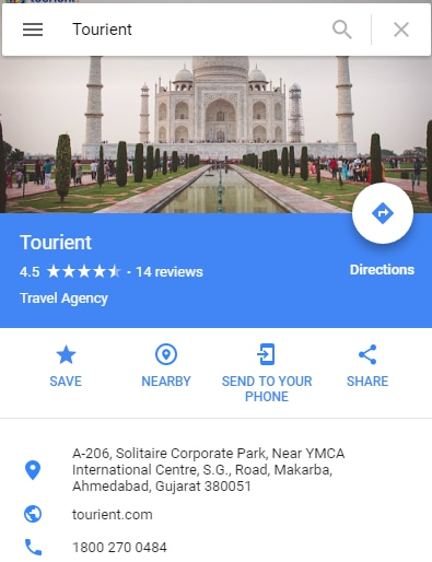 Tourient is an startup online travel company providing all travel services and the best customized holiday tour packages for all travel destinations around the world.   Checkout Tourient on google!   https://www.google.co.in/maps/place/Tourient/@22.999888, 72.499595, 15z/data=!4m5!3m4!1s0x0:0xe8fc83973b608580!8m2!3d22.999888!4d72.499595