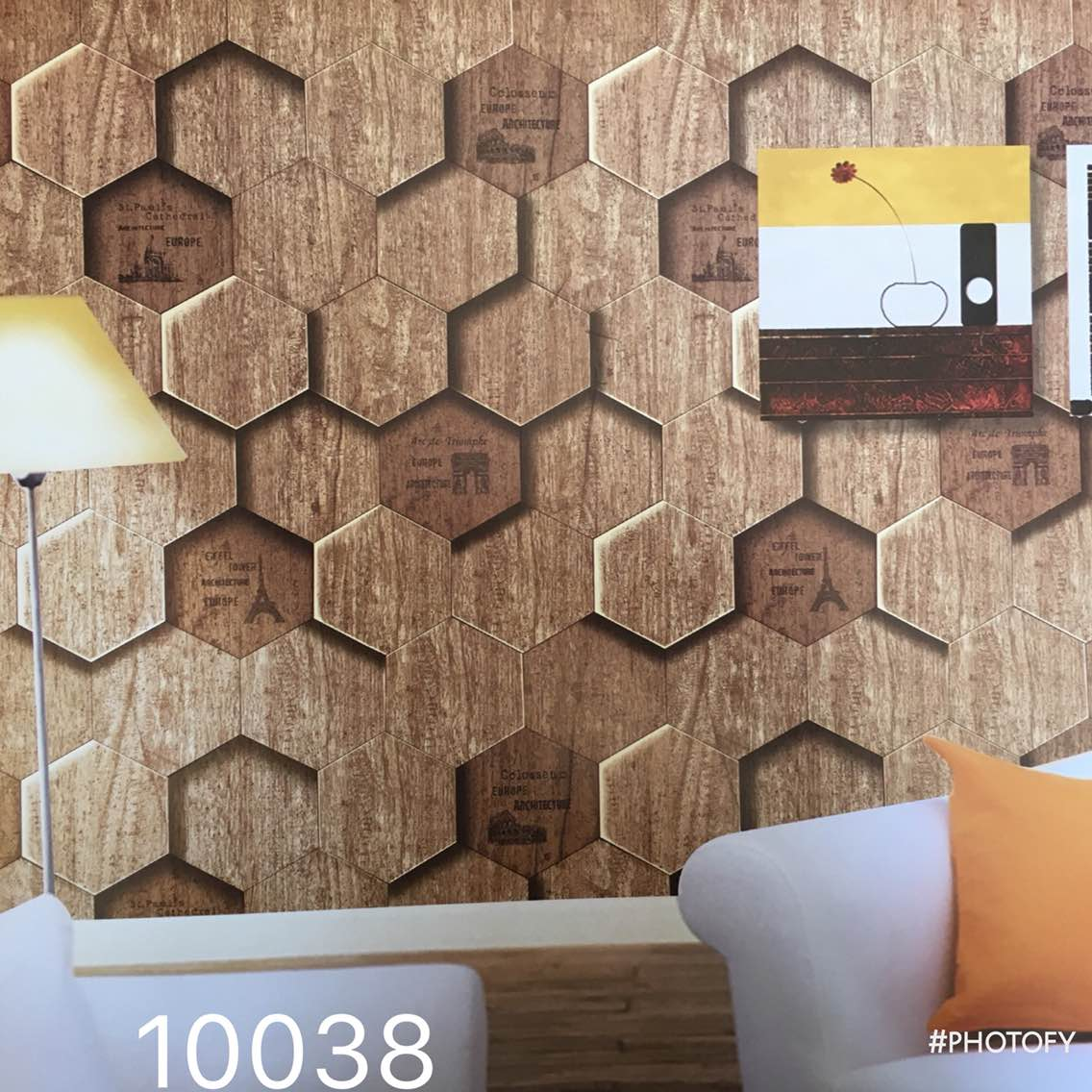 A wooden Block pateren.   A pateren for your cafe and restaurant walls.   Mizzle Imported Wallpaper 10038 code.  A Dario wallpaper in wooden blocks.  To buy call us   Wallparadise- Mizzle Imported Wallpaper Supplier in India.