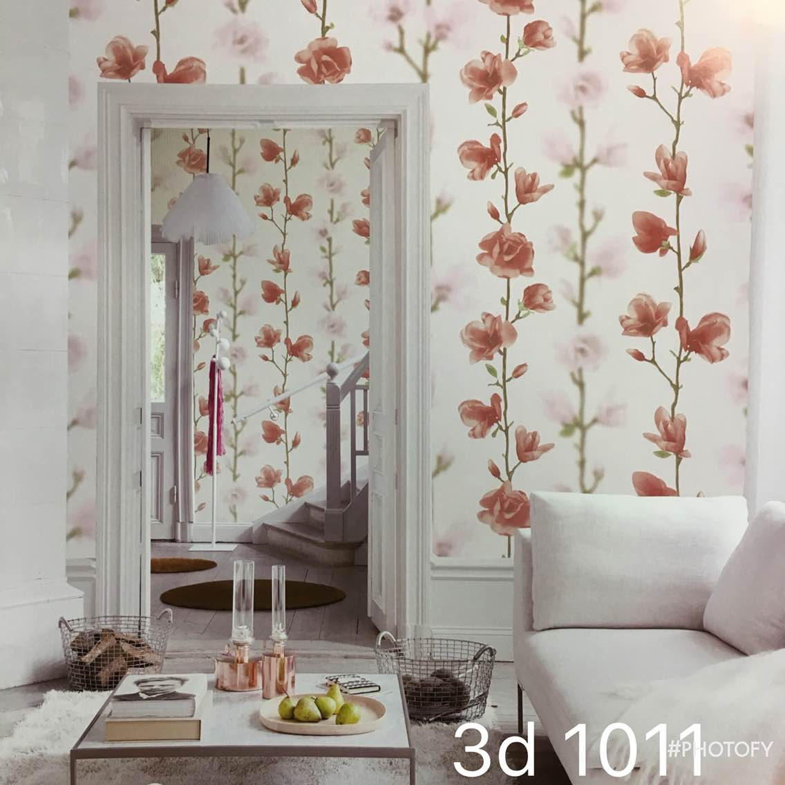 Kalon Wallpaper in Pink flower in Delhi.   A wallpaper with (3d1011) pink Flower for Girls Room.  Make her Happy to change the walls with this Beautiful Imported wallpaper.   To buy call us-  Wallparadise- Kalon Imported Walpaper Supplier in India.