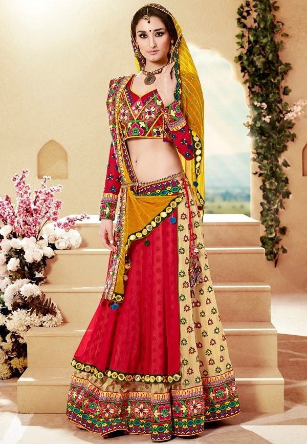 Ravishing Traditional Lehenga Choli with Embroidery and Mirror work  Look traditionally fashionable while dancing to dandiya tunes by wearing the gorgeous embroidered lehenga set. The authentic kutch-work and mirror-work in vibrant shades greatly enhance the overall look of the attire. When paired with a stylishly designed contrast color dupatta, the outfit is bound to make you stand out in a crowd!  #Traditional Lehengha Choli At Lowest Price  SHOP NOW: http://www.myshopmall.com/Single/Lahenga/Lehenga-Art-Silk-Choli-Art-Silk-Dupatta-Net-Multi-Heavy-Worked-Lahenga-1-6