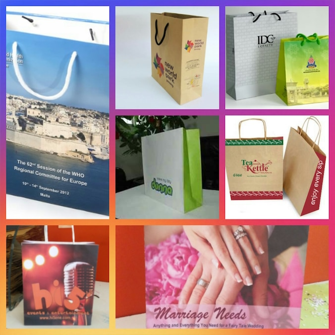 Paper bags for corporate gifts and paper bags for exhibitions to carry brochures. These paperbags can be made with hand made paper for social cause which are recyclable with out any hazard to the environment.