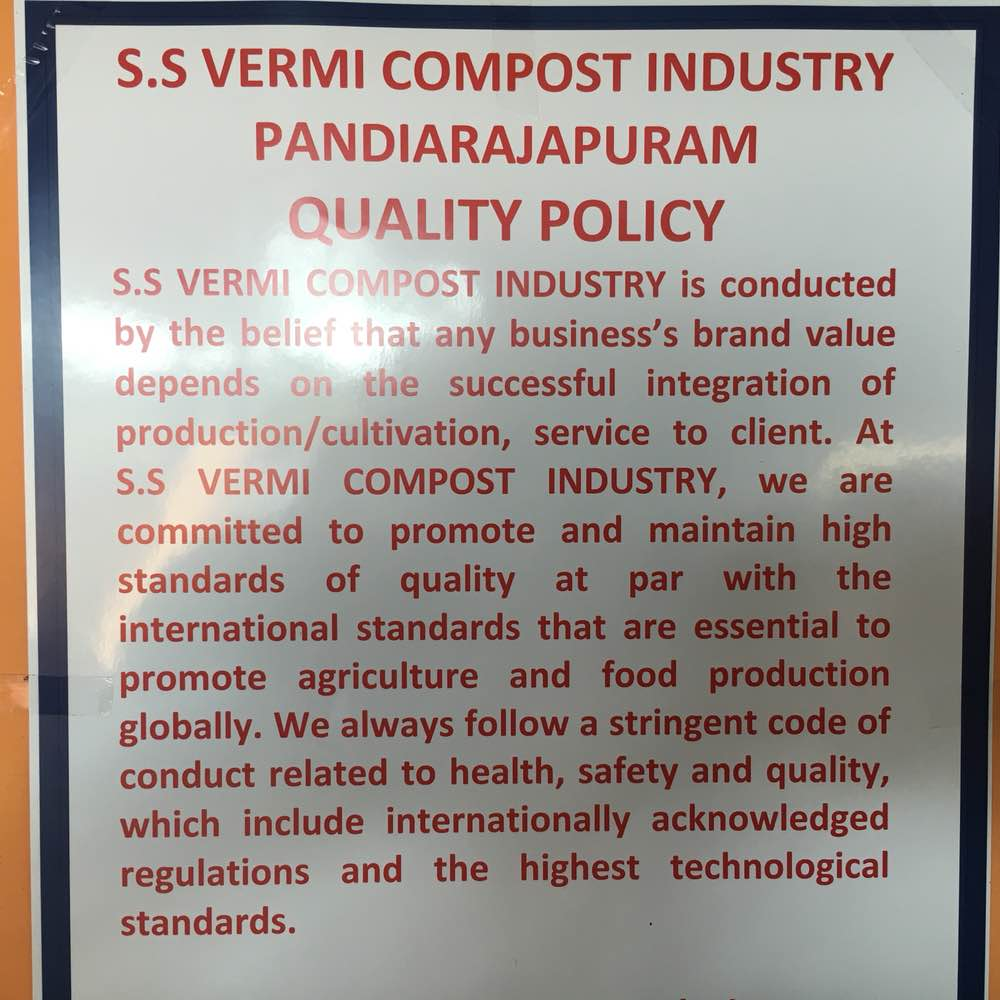 Vermicompost Manufacturer In Tamilnadu  Our Company Quality Policy