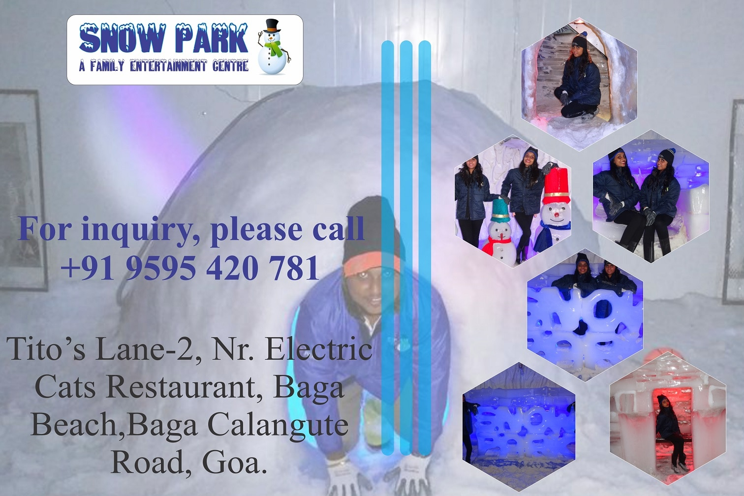 Beat The Heat This Summer With #Snowparkgoa   Slide on Ice, Snow Igloo, Snow Sculpture, Real Ice Glass, Snow Caves, Sledging Car, DJ Dance, Snow Wind And Many More Activities.   reservation :- +91 9595420781
