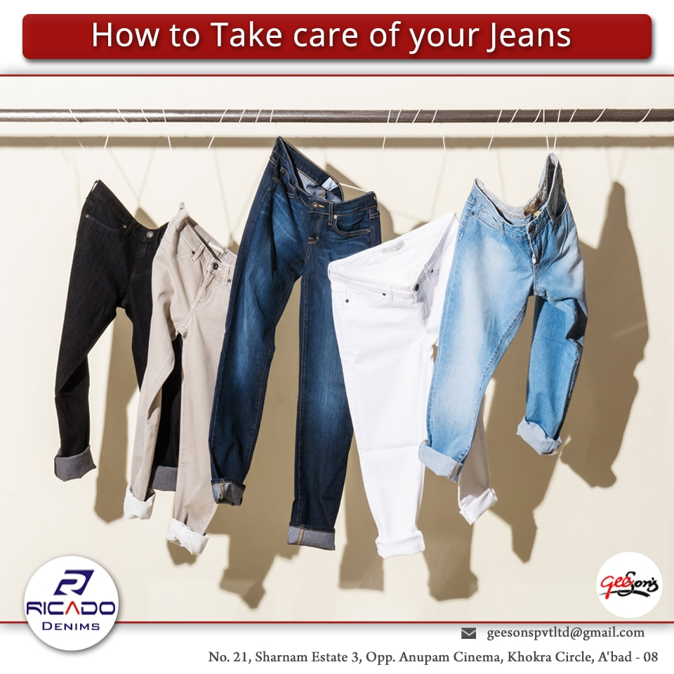 How to Take care of your Jeans  1.You're washing your jeans way too often 2.Your jeans aren't tailored to the correct length. 3.When you do wash, it's not by hand 4.You're using the dryer. 5.You're not taking advantage of a steamer. 6.You're buying the wrong size and it's causing not-ideal wear. 7.You're bleaching your white jeans.  #Best-exported-Jeans-in-Ahmedabad  #Manufactured-denims-in-Gujarat  #Stretchable-Jeans-Manufacturer-in-Ahmedabad  #Mens-Jeans-Suppliers-In-Ahmedabad  #Mens-Jeans-Exporters-In-Ahmedabad   W:http://ricadodenims.com/   M:+91 9879759999