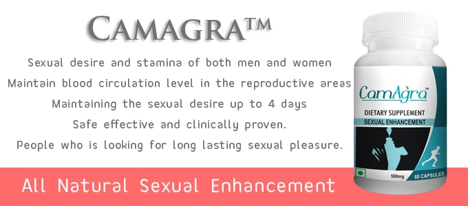 CamAgra - Natural Sexual Enhancement & Reproductive Support  Rs.2850/- 60 Supplement Capsules  KEY INGREDIENT(S): Chlorophytumborivilianum (Safed Musli), L- Aginine, Macuna purines, Tribullus, AsperagusRecemosus, Shilajit, Ginkgo and Adoptgem Blend.  Health Benefits of CamAgra : Sexual desire and stamina of both men and women. Maintain blood circulation level in the reproductive areas. Maintaining the sexual desire up to 4 days. Safe effective and clinically proven.  More info : http://camillotek.com/all/camagra.html  Buy now : https://www.payumoney.com/store/buy/camillotek008