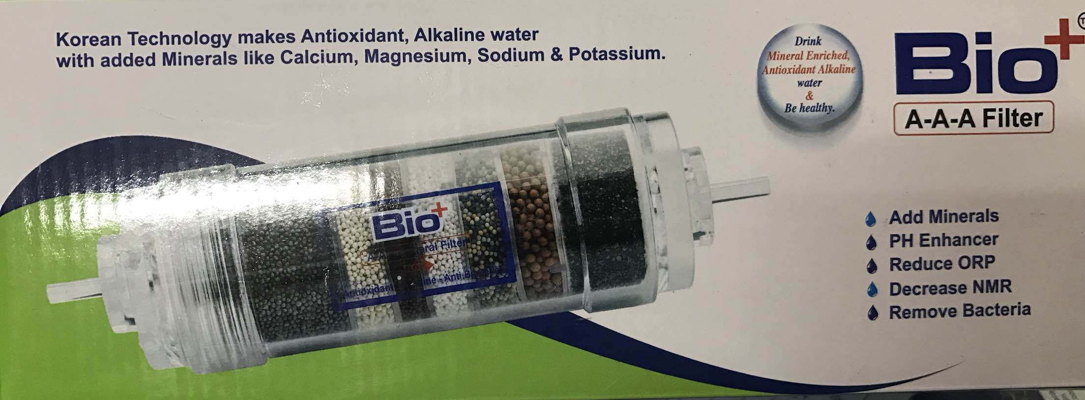 Bio plus AAA ceramic filter is applicable for treatment of RO system it adds essential minerals which are generally removed by the R.O. plant during the purifications princess. Further, it increases the pH alkalinity of water.  In present era, there has been a drastic change in eating habits and life styles of people. Now a day, the connection of acidic food such as fast food, oily food & drink, alcohol , tea & coffee has increased to a grate extent. People are exposed to large amount of acidic waste due to environmental pollution, president life style and also lack of physical exercise which ultimately leads to chronic disease and various complications. Bio Plus AAA Filter gives alkaline which helps to neutralise such acidic impurities and supports in prevention of Vitamin deficiencies.