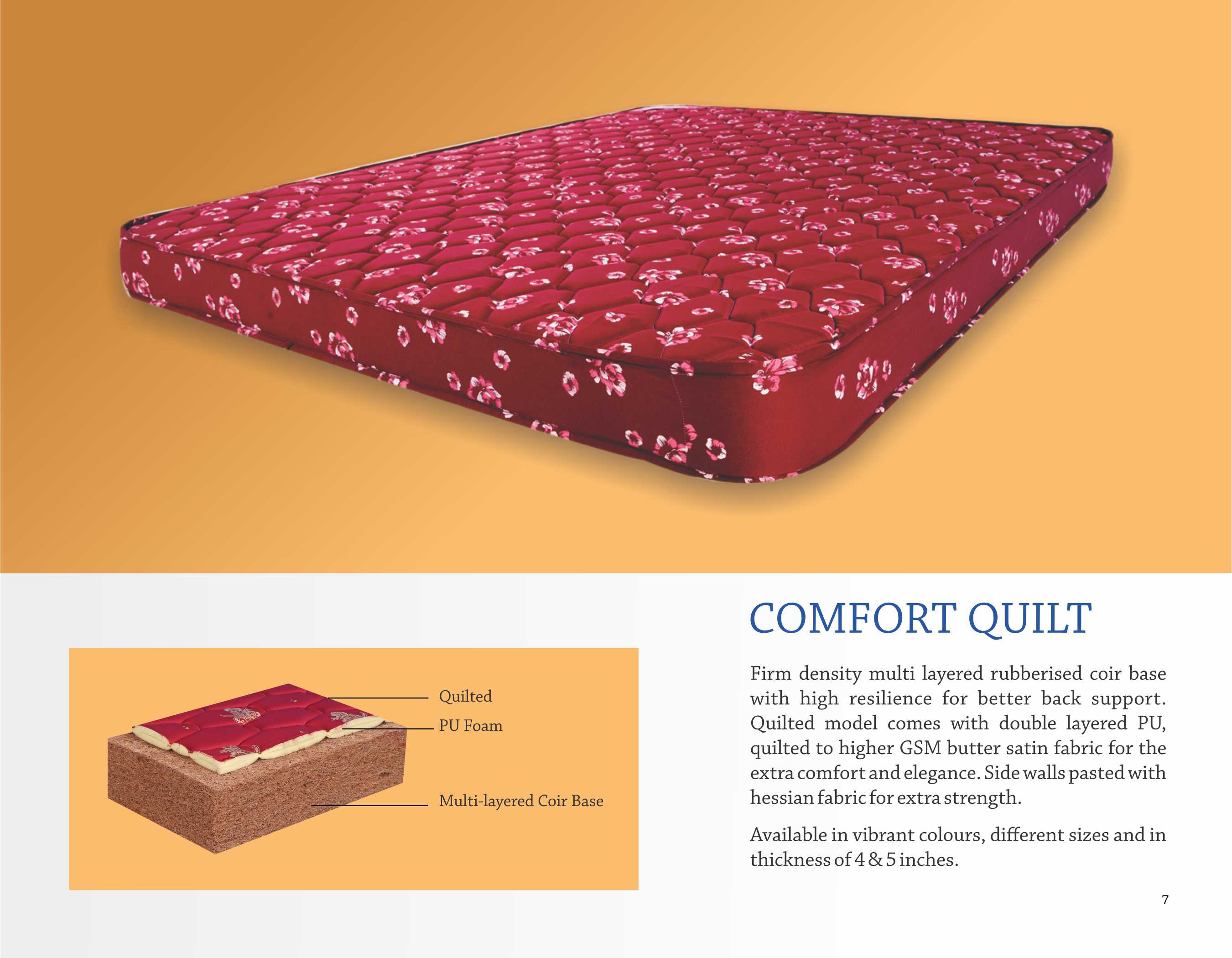 Comfort Quilt Mattress Maroon manufacturer and Exporter In Coimbatore  Comfort Quilt Mattress Maroon manufacturer and Exporter firm density multi layered rubberized coir base with high resilience for better back support. Quilted model comes with double layered PU, quilted to higher GSM butter satin fabric for the extra comfort and elegance. Side walls pasted with Hessian fabric for extra strength.  Available in maroon color, different sizes and in thickness of 4 & 5 inches.  Comfort Quilt Mattress Maroon manufacturer and Exporter In Coimbatore Comfort Quilt Mattress Maroon manufacturer and Exporter In Chennai Comfort Quilt Mattress Maroon manufacturer and Exporter In Bangalore Comfort Quilt Mattress Maroon manufacturer and Exporter In Bangaluru