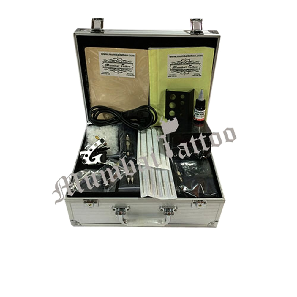 MUMBAI TATTOO SUPPLY  BASIC TATTOO KIT Basic Tattoo Kit Item Code:   TATK-002 MUMBAI TATTOO SUPPLY OFFER,  With our hard-earned industrial experience and knowledge, we Mumbai tattoo supply are manufacturing and supplying a precision-engineered range of Basic Tattoo Kit. These basic tattoo kits have everything an artist need for making tattoo. The basic tattoo kit is good for the artist who is learning the tattoo skill on the practice skin and these light weight tattoo kit is easy to handle and have digital power supply.   Other Details:       Digital Power Supply Power Supply Cord Foot Switch Clip cord Ink Cups 10 Needles of varied sizes Starbrite Colors  Tracing paper Rubber parts L key Grip - Stainless Steel Tips - MRP - 5000/-RS