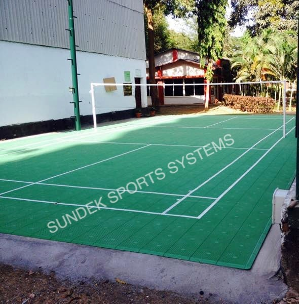 Sundek Sports Systems successfully completes a Badminton Court for the Indian Army, Colaba, Mumbai, Maharashtra, India. Sundek Sports Systems has used Polypropylene (PP) Tiles for the construction of the court. The scope of work included construction of a Concrete Sub Base suitable for installation of the Robust PP Tiles Flooring, Lighting, Net Poles as well as Game Line Marking.  PP Tiles for outdoor courts is designed and developed for outdoor multi-sport applications. The innovative tile design and our unique locking system creates a playing surface that allows for consistent ball bounce and response and unmatched playability. The advantages of PP Tiles are:  Safe, Shock-Absorbing Construction Exceptional Durability Easy to Maintain Attractive Appearance  Our PP Tiles are recommended for the following sports:  Basketball Court Badminton Court Tennis Court Volleyball Court Multipurpose - Court Football / Futsal  We recommend use of PP Tiles for all above courts any where in India. It can sustain extreme weather conditions as well. The tiles are a Do-It-Yourself Product. Due to the interlocking nature of the tiles, anyone can install it easily.   Contact SUNDEK SPORTS SYSTEMS at enquiry@sundek.in or call us on 022-22005040 and ask for our Marketing Team.