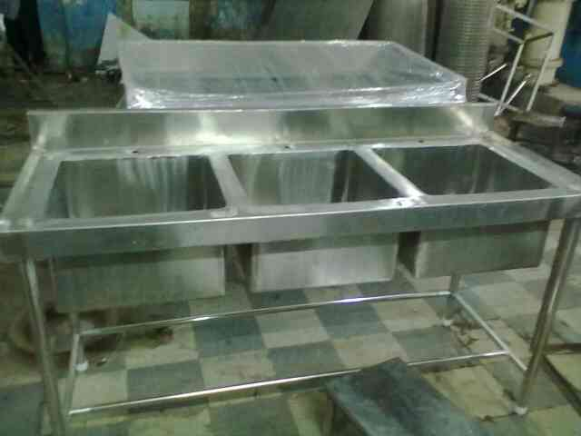 we manufacture all types of Stainless Steel commercial kitchen equipments. Three sink unit is made of Stainless Steel 304 grade material