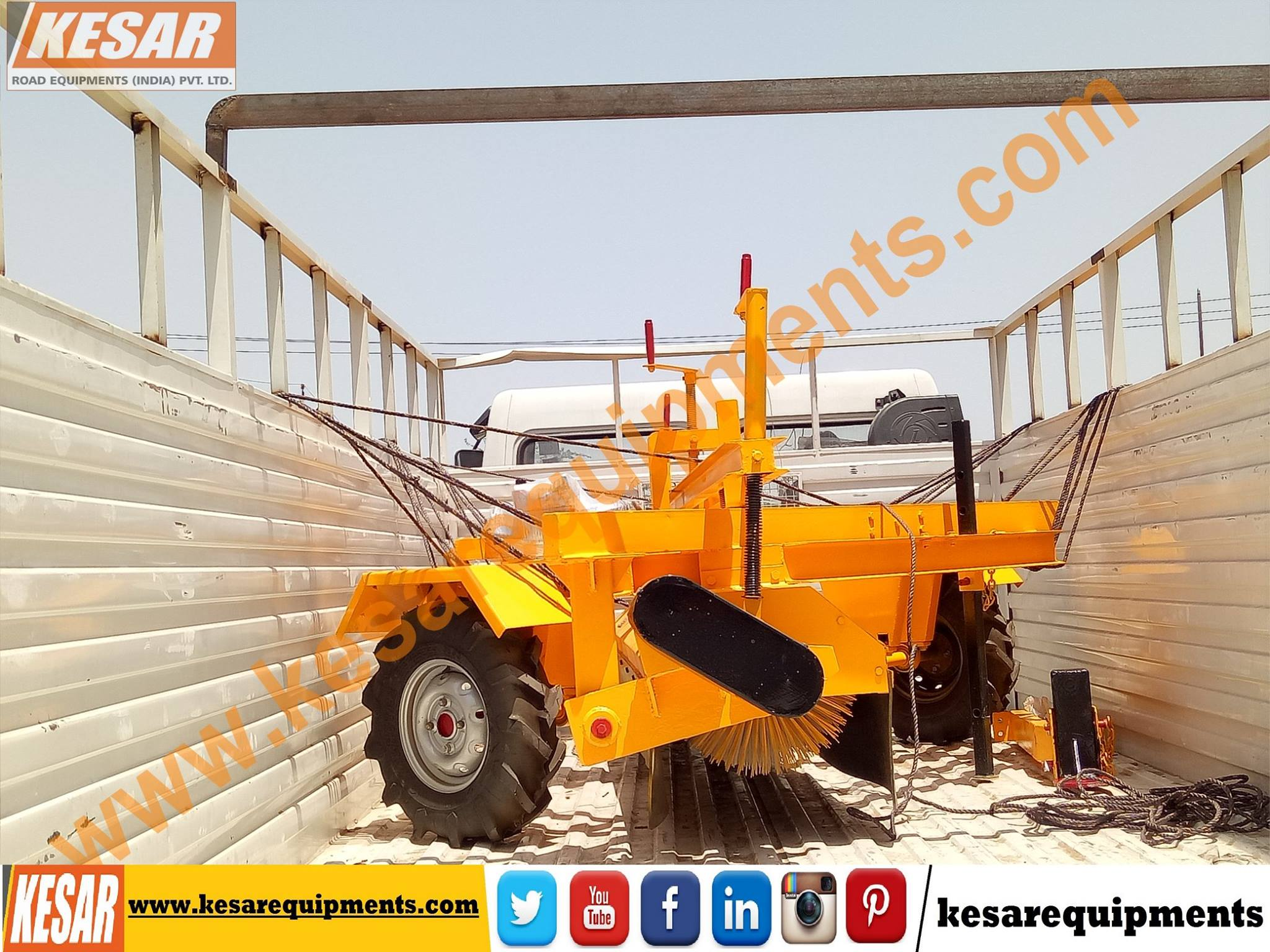 Today We Dispatched Hydraulic Broomer(Road Sweeper) At Maharashtra, India  We Are Manufacturer Of Asphalt Hot mix Type Drum Mix Plant In Mehsana, Gujarat, India. www.kesarequipments.com
