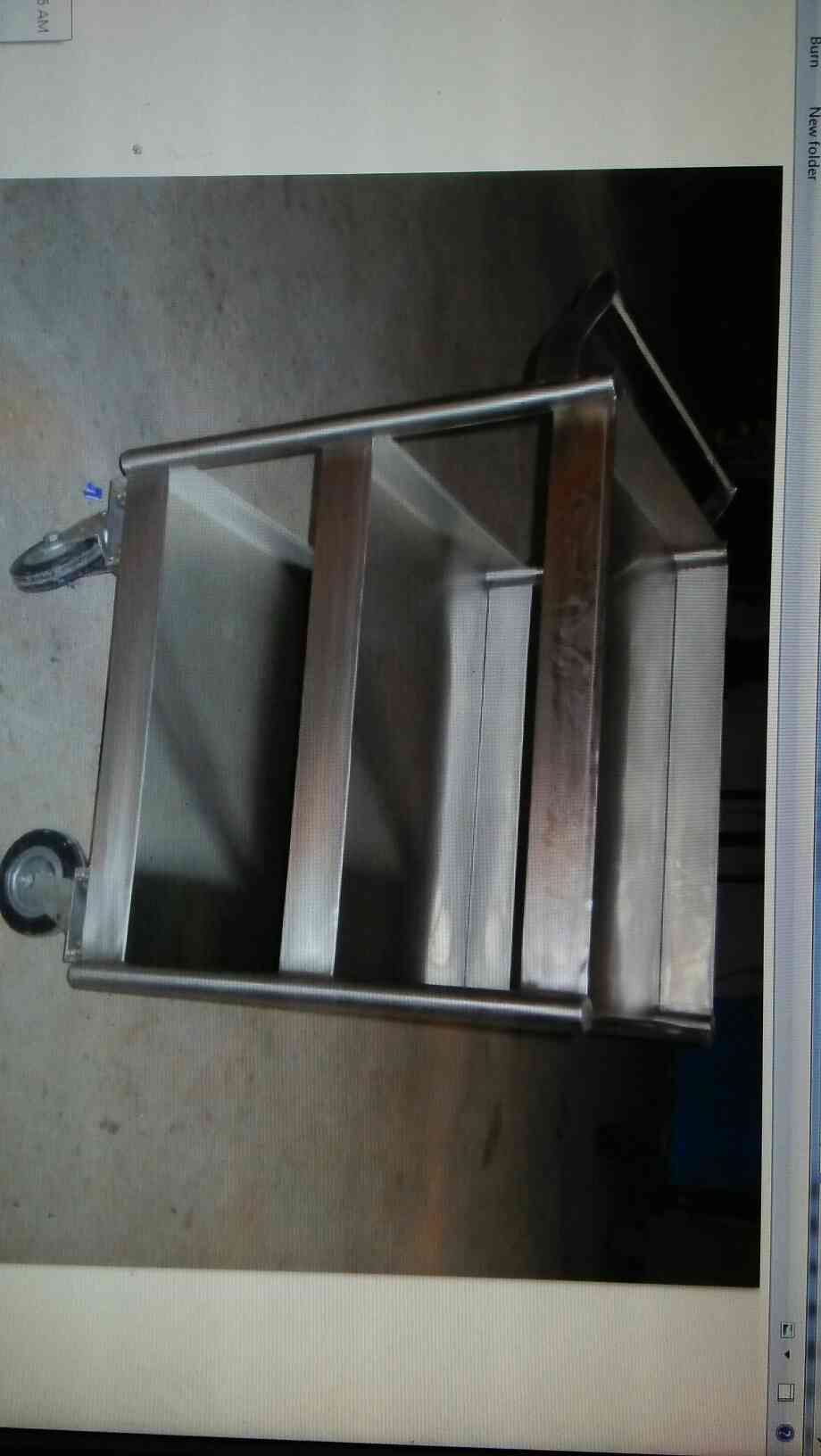 3 stair SS Food service trolley is made up of 16SWG SS 304 grade  Sheet. It have 4 wheels out of them 2 are break Wheels 2 are normal wheels.  It have one handle made up of 1 inch SS pipe