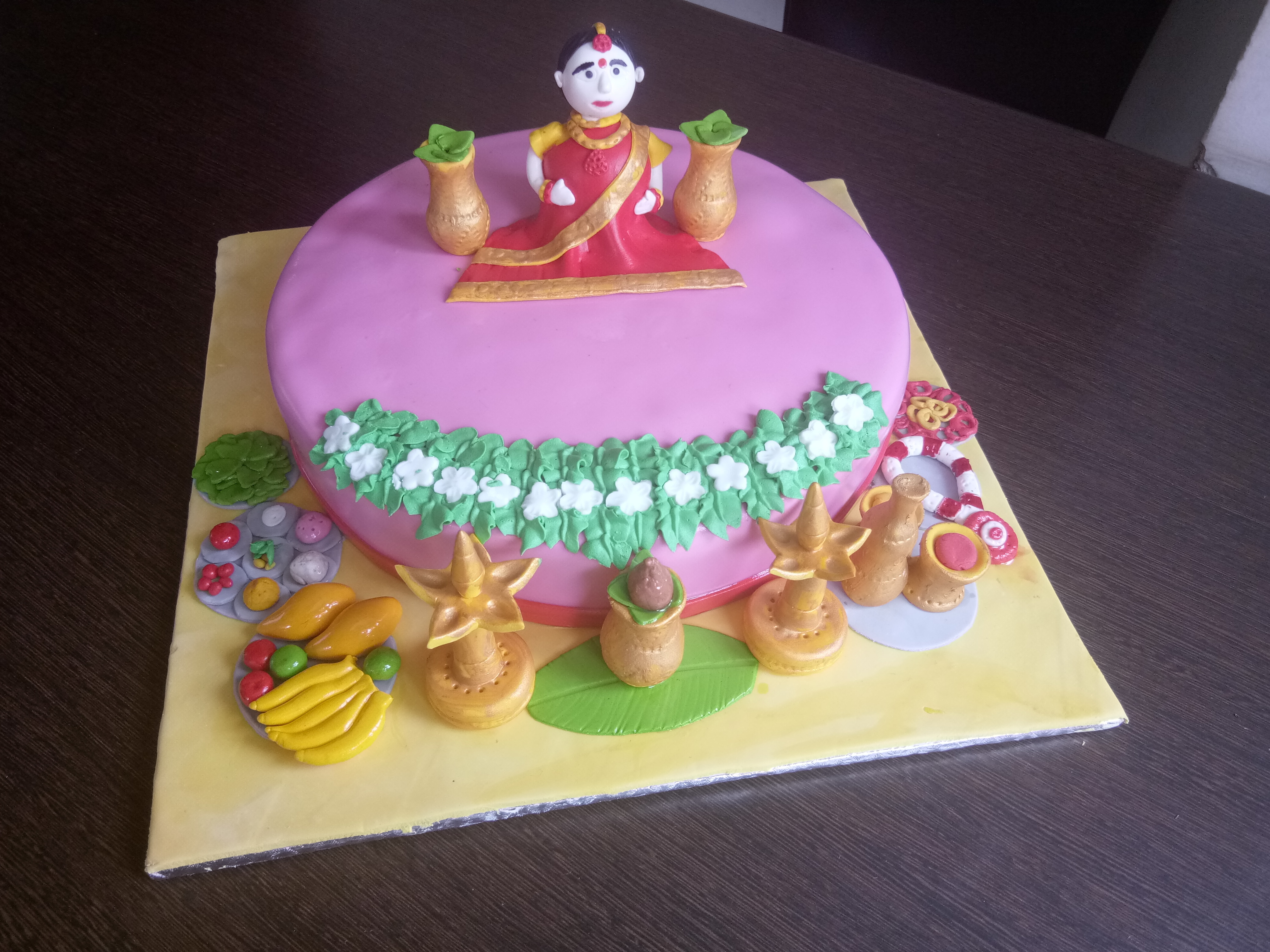 Baby Shower cake - Indian style from Sweet Cherry. Order online for home delivery of eggless cakes anywhere in bangalore.  We specialise in custom cakes for birthday baby shower, engagement, wedding, parties or any special events