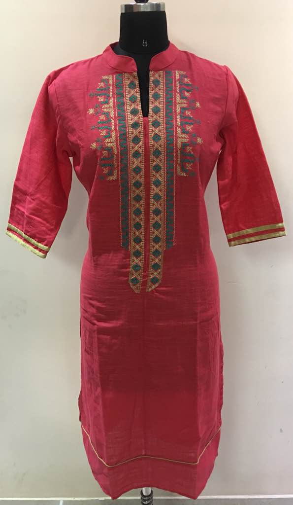 Kurti manufacturer from Jaipur. We manufacture jaipuri style selfie embroidery kurtis at factory rates and use best quality cotton rayon slub cotton with fast colors and designer styles. Check out our collection and whatsapp on 8003899649 for details