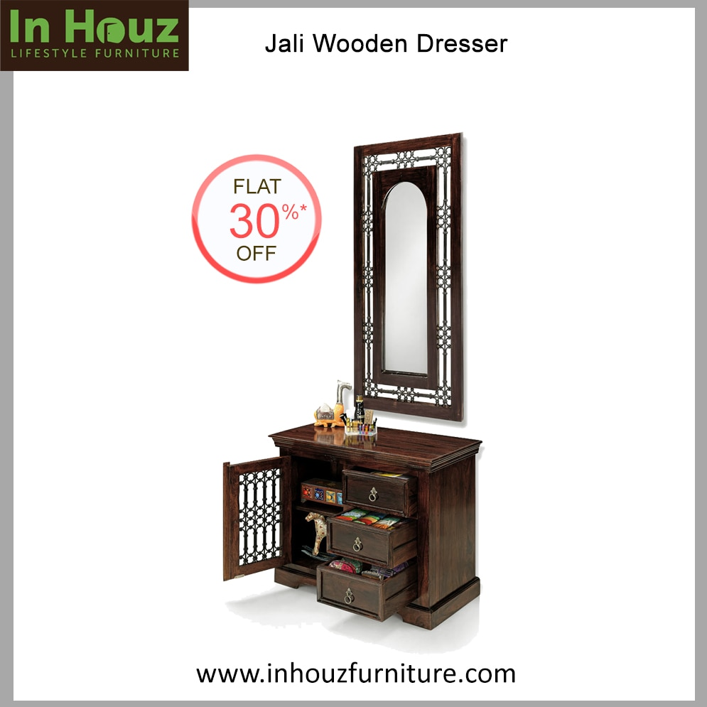 Wooden Dressing Table  Crafted from superior Solid Wood and with a beautiful finish, this Solid Wood Dresser will make getting ready in the morning. Select from a wide range of Solid Wood Dressing table at the Lowest Prices.  Buy Cheap Wooden Bench Online for your Dining Room and Get 30% Discount on all Online Solidwood Furniture.   Buy Wooden Dresser Online from a unlimited selection at our Online Furniture Store Inhouzfurniture.com