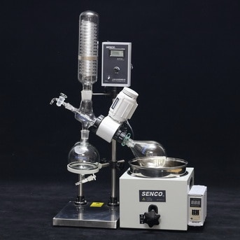 ROTARY EVAPORATOR SUPPLIER IN BANGALORE  INDIA  SENCO Rotary Evaporators R206b 2l are developed by sticking to the basics, keeping in mind safety of the user and focusing on giving desired results. They enable to achieve desired results affordably and are backed by trustworthy service. The Lab Scale Rotary Evaporator is simple yet accurate, basic yet precise, up to the mark on performance and friendly on budget. Senco rotary evaporator  We have a unite Senco rotary evaporator in Hyderabad and India we have best price senco rotavapor   These Rotary Evaporators are used for a variety of applications including: •Concentration •Drying •Refining •Separation •Crystallization   Vacuum Sealing system Specially designed and precisely manufactured Anti-corrosion and Wearable Sealing Systems in these Rotary Evaporators enables to reach ultimate vacuum rates of less than 1 Torr. High quality material leads to longer seal life and hence about 90% of the users did not replace the seal in one year.   Tandem Type Continuous Receiving  With SENCO's patented unique Tandem Receiving Technology (patent No. 03229693.2), system vacuum does not drop during discharging shifts. With single receiving flask vacuum leakage points are reduced by 50%. Ultimate system vacuum is further improved by Glass-Mirror finish on all Flange joints.   PTFE Charging Valve To offer pure, clean charging process and durable use experience, new structure and PTFE material is used in the charging valve.   Flange Quick Press Ring One-piece quick clip design eliminates dead seizures in glass joints. Offer new experience on easy, reliable and high sealing connection for flanges (no tools required).  PTFE Discharge Valve Senco's patented (Patent No. 01253089.1) PTFE discharge valve is anti-corrosive, does not require any vacuum grease, and thus eliminates any pollution to the solvent received.   Electric Lifting  Offer smooth electric bath lift with manual lift function for emergency power failure use.  Bumping Tube 