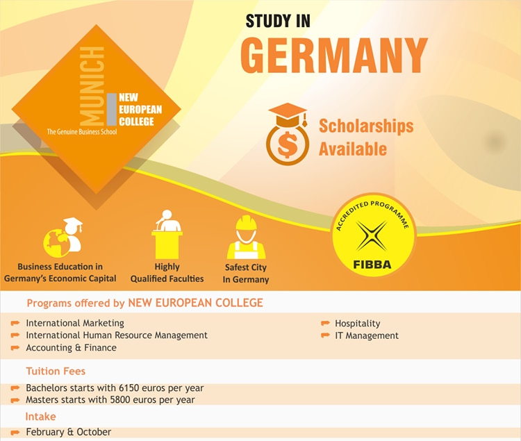 Study In Germany   New European College offers courses in Hospitality , IT Management , International Marketing , Human Resource Management , Accounting & Finance . Affordable Tuition Fees , Scholarships available .   For more details contact Gyaan Overseas Education,   Study Abroad Consultants  Overseas Education Consultants  Study In Europe