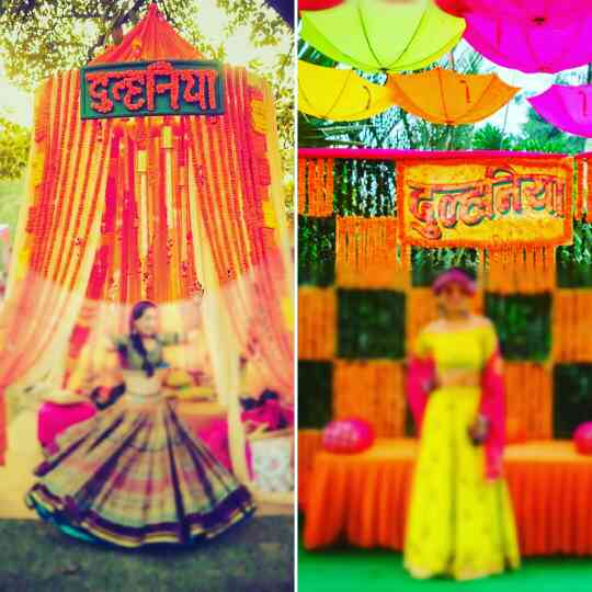 When you want to roll on your wedding like this. Your mehendi is when family and friends come together for day full of fun and Masti. Celebrate becoming a dulhania with these marigold props. InspiredWeddingDecor