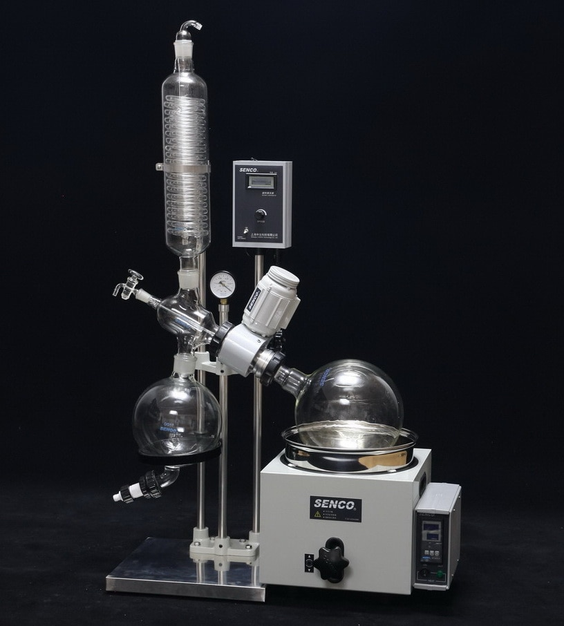 SENCO Rotary Evaporators  R206b 2l  are developed by sticking to the basics, keeping in mind safety of the user and focusing on giving desired results. They enable to achieve desired results affordably and are backed by trustworthy service. The Lab Scale Rotary Evaporator is simple yet accurate, basic yet precise, up to the mark on performance and friendly on budget. Senco rotary evaporator  We have a unite Senco rotary evaporator in Hyderabad and India  we have best price senco rotavapor    These Rotary Evaporators are used for a variety of applications including: •Concentration •Drying •Refining •Separation •Crystallization   Vacuum Sealing system Specially designed and precisely manufactured Anti-corrosion and Wearable Sealing Systems in these Rotary Evaporators enables to reach ultimate vacuum rates of less than 1 Torr. High quality material leads to longer seal life and hence about 90% of the users did not replace the seal in one year.   Tandem Type Continuous Receiving  With SENCO's patented unique Tandem Receiving Technology (patent No. 03229693.2), system vacuum does not drop during discharging shifts. With single receiving flask vacuum leakage points are reduced by 50%. Ultimate system vacuum is further improved by Glass-Mirror finish on all Flange joints.   PTFE Charging Valve To offer pure, clean charging process and durable use experience, new structure and PTFE material is used in the charging valve.   Flange Quick Press Ring One-piece quick clip design eliminates dead seizures in glass joints. Offer new experience on easy, reliable and high sealing connection for flanges (no tools required).  PTFE Discharge Valve Senco's patented (Patent No. 01253089.1) PTFE discharge valve is anti-corrosive, does not require any vacuum grease, and thus eliminates any pollution to the solvent received.   Electric Lifting  Offer smooth electric bath lift with manual lift function for emergency power failure use.  Bumping Tube Bump tube is incorporated in the functional 