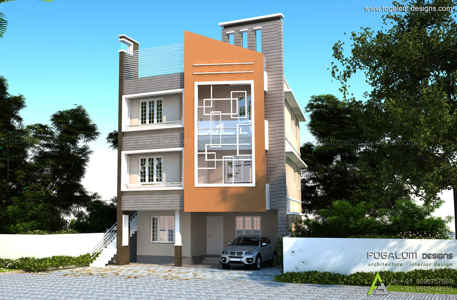 Apartment Interior Design Kerala home design- 3 floor apartment -4500 sft house designers kochi