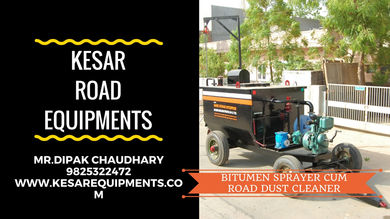 Bitumen Emulsion Sprayer With High Compressor For Road Dust Cleaning Manufacturer And Supplier In Maharashtra, Tamilnadu, Kerala, Etc.  Kesar Road Equipments Manufacturer Of Road Construction Equipments In Mehsana, Gujarat, India.  www.kesarequipments.com