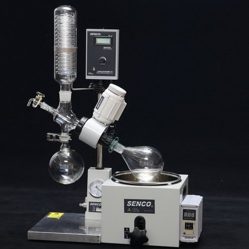 Rotary Evaporator , SENCO Rotary Evaporators  R206b 2l  are developed by sticking to the basics, keeping in mind safety of the user and focusing on giving desired results. They enable to achieve desired results affordably and are backed by trustworthy service. The Lab Scale Rotary Evaporator is simple yet accurate, basic yet precise, up to the mark on performance and friendly on budget. Senco rotary evaporator  We have a unite Senco rotary evaporator in Hyderabad and India  we have best price senco rotavapor    These Rotary Evaporators are used for a variety of applications including: •Concentration •Drying •Refining •Separation •Crystallization   Vacuum Sealing system Specially designed and precisely manufactured Anti-corrosion and Wearable Sealing Systems in these Rotary Evaporators enables to reach ultimate vacuum rates of less than 1 Torr. High quality material leads to longer seal life and hence about 90% of the users did not replace the seal in one year.   Tandem Type Continuous Receiving  With SENCO's patented unique Tandem Receiving Technology (patent No. 03229693.2), system vacuum does not drop during discharging shifts. With single receiving flask vacuum leakage points are reduced by 50%. Ultimate system vacuum is further improved by Glass-Mirror finish on all Flange joints.   PTFE Charging Valve To offer pure, clean charging process and durable use experience, new structure and PTFE material is used in the charging valve.   Flange Quick Press Ring One-piece quick clip design eliminates dead seizures in glass joints. Offer new experience on easy, reliable and high sealing connection for flanges (no tools required).  PTFE Discharge Valve Senco's patented (Patent No. 01253089.1) PTFE discharge valve is anti-corrosive, does not require any vacuum grease, and thus eliminates any pollution to the solvent received.   Electric Lifting  Offer smooth electric bath lift with manual lift function for emergency power failure use.  Bumping Tube Bump tube is incorporate