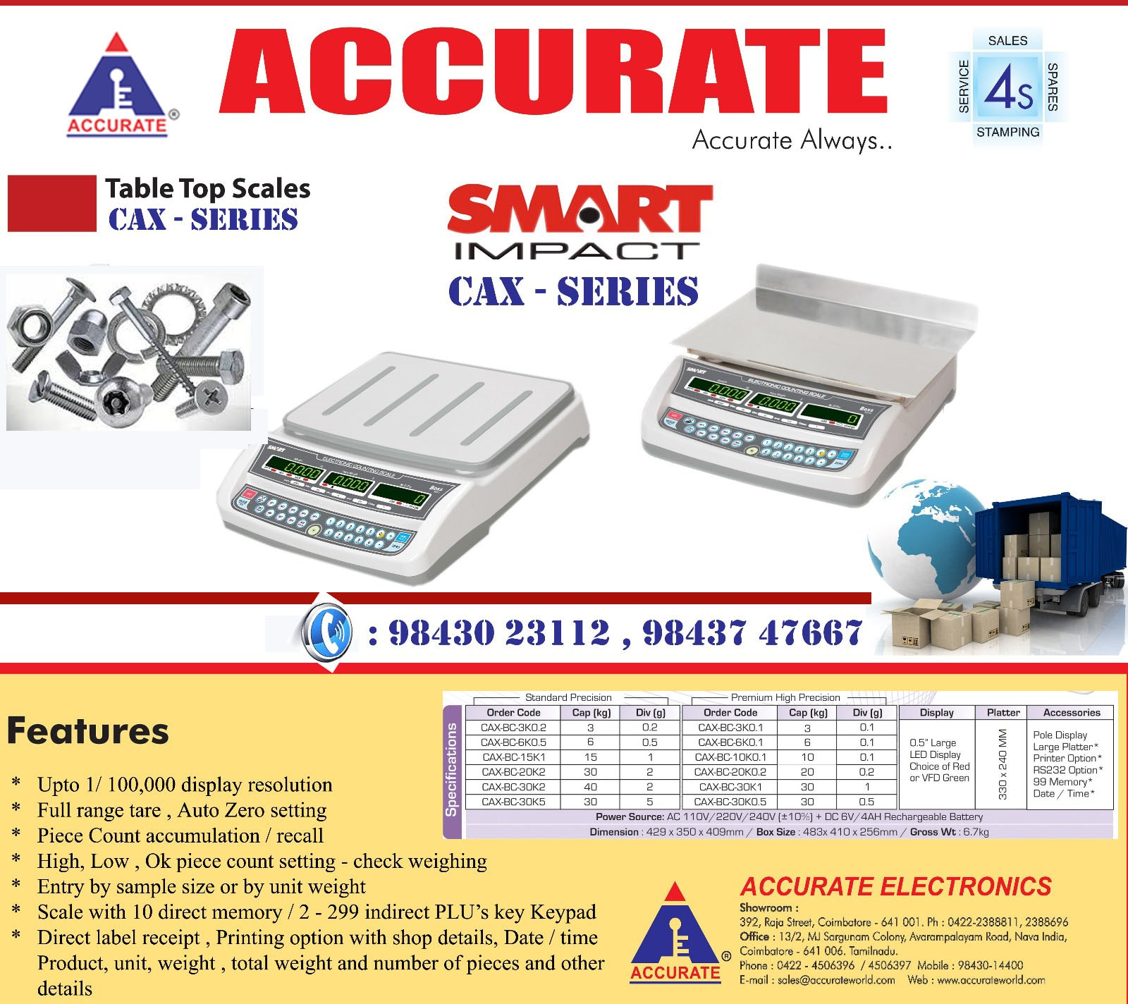 This is the most convenient strain gauge load cell based digital scale, indispensable to modern commerce. This design has more advantages, also very reliable and accurate.  Accurate Scales employ the latest techniques and approved by the Directorate of Legal metrology for stamping by the Weights and Measures Authorities.  ACCURATE - CAX Capacity : 6Kg, 10Kg, 30 Kg  Accuracy : 0.1g, 1g, 0.5g  Pan Size : 330 x 240 mm Body: ABS Display: LED 0.56mm ( Red )  Features   Counting Function   High Accuracy   Re-chargeable Battery   Three Display ( Weight, Rate & Qty )  #HardwareShopWeighing #CottonMillsWeighing #ProductionUnitsWeighing #PackingUnitsWeighing #Buttoncounting #Labelcounting #Fasternerscounting #StoresPiececounting #PrecisionWeighing  #PrintingOptionScale #RS232OptionScale #USBOptionScale #99MemoryOptionScale #6kgscale #10KgScale #30KgScale #PiececountingScale #Weighingscale #IshtaaWeighing  #Scales  #AccurateWeighing  #AccurateScale