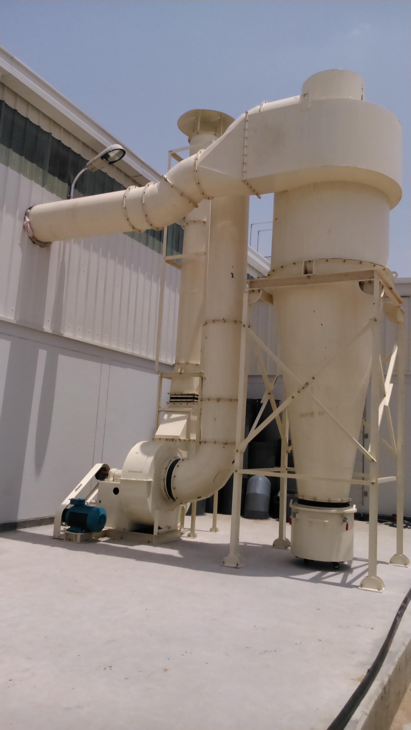 Cyclone Dust Collector HUMIAIR cyclone provides the ideal solution to the problem of collecting materials, both for exhausting dust and shavings and for conveying bark and chips. Centrifugal action causes the air and material to move the air to escape through the top.  Cyclone Dust Collector is ideal for separation application such as : ** Ideal for large particulate dust collection ** Product recovery ** For pre-filtering for a media filter ** Low energy cost ** Available for explosive and high sparking dusts ** High dust loading in wood working environments ** High temperatures *** Highly abrasive wood shop dust