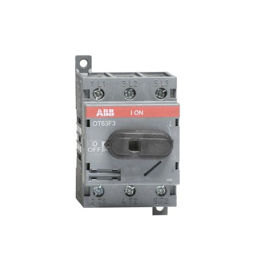 OT63F3 1SCA105332R1001 OT63F3 switch-disconnector 3-pole, front operated, base mounted, DIN-rail mountable switch-diconnector / non-fusible diconnect switch with protected clamp terminals, handle and shaft are not included