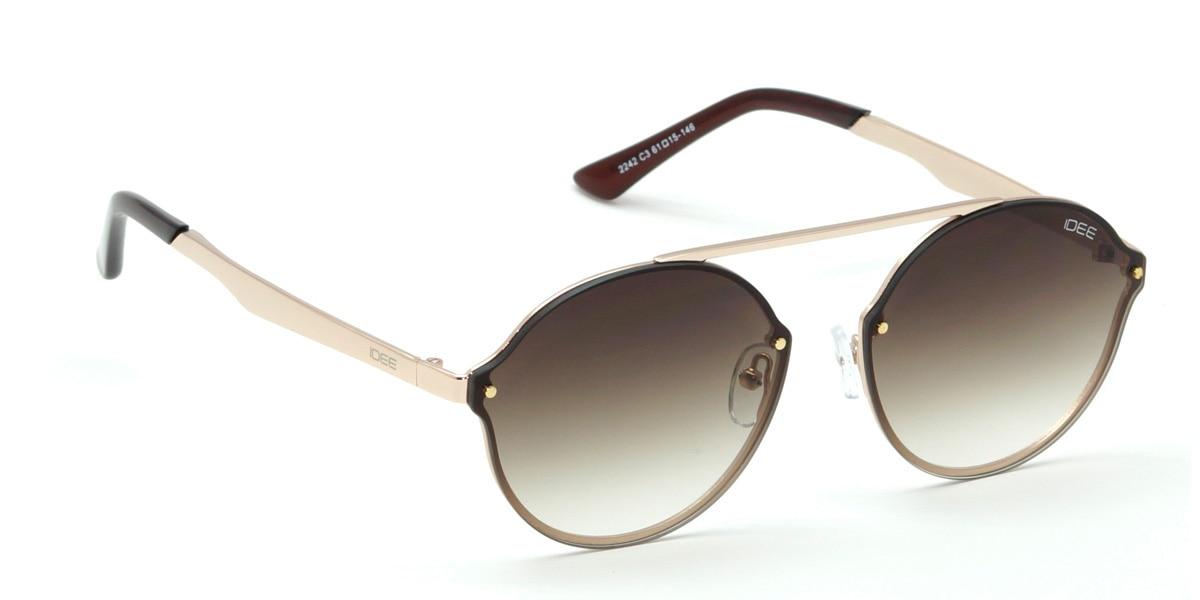 IDEE Sunglasses Unisex Medium 61mm Brown Shaded Round IDEE-S2242-C3  Shop Now From Here https://goo.gl/NzJzir