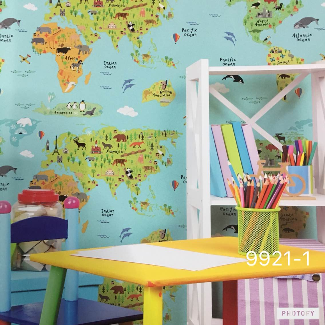 Best Imported Wallpaper supplier in Delhi.   A World Map wallpaper now availble at very low cost.  Most running Wallpaper Design for Kids Room from the Wonder land koreaon wallpaper series.   Product code is 9921-1.  To buy call us  Wallparadise- World Map Imported wallpaper Suplier in Rajori Garden Delhi.