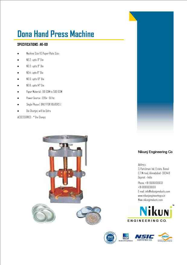 Hand operated Dona Making Machine mfg by Nikunj Engineering co. Ahmedabad
