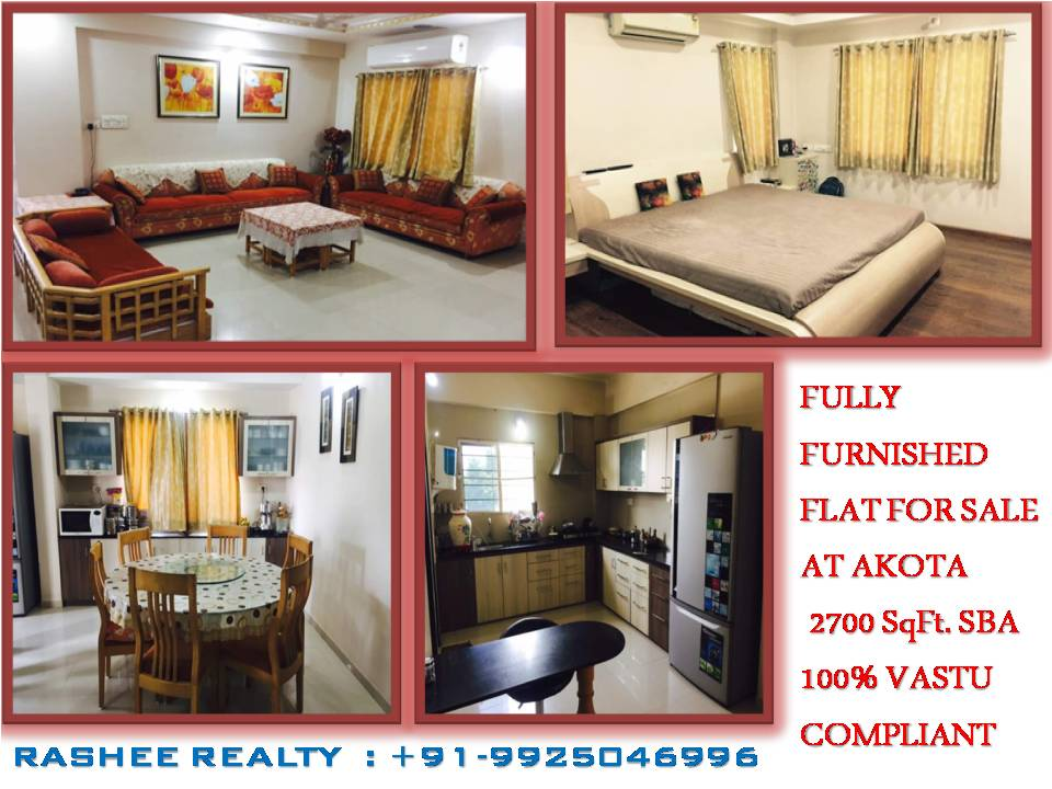 Fully-Furnished Flat on Sale in Akota  Fully-Furnished flat on sale in Akota with having all fix furniture located on Best Locality of AKOTA  For more details contact RASHEE REALTY