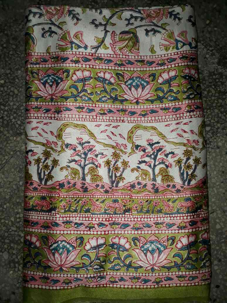 Jaipuri Hand Block printed bed sheet on glaze cotton with 2 pillow covers 90