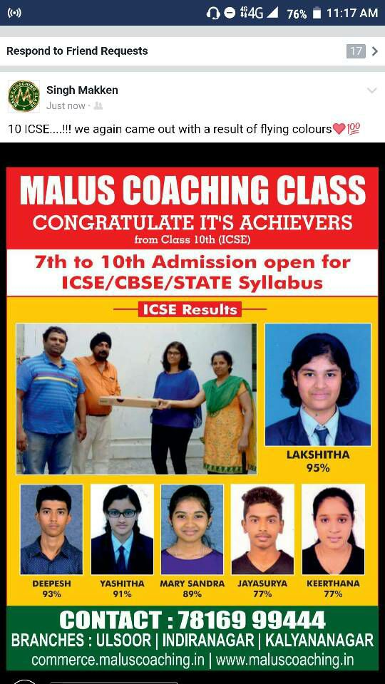 coaching classes for classes for 10th I C S E in Cambridge layout Bangalore