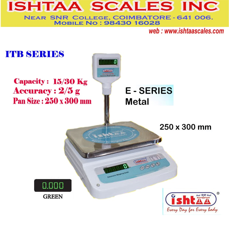 ISHTAA - Best Table Top Scale Manufacturers in South India.   Ishtaa – E Series Application : High resolution with fast response time Metal body with dust cover weighing scale Strong, Aesthetic look & finishing Rechargeable battery backup Auto zero tracking facility Nett / Gross facility Overload Indication High bright LED display  #Parcelweighingscale #Dairyunitsweighingscale #Meatsweighingscale #Groceryweighingscale #Fruits& vegetableweighingscale #Vegetableweighingscale #Piececountingweighingscale #hardwareshopweighingscale #IshtaaWeighing #Scales #AccurateWeighing #AccurateScale #Weighing  To Know more Click here : https://goo.gl/tsj24h To Buy Now, Call: 09843016028