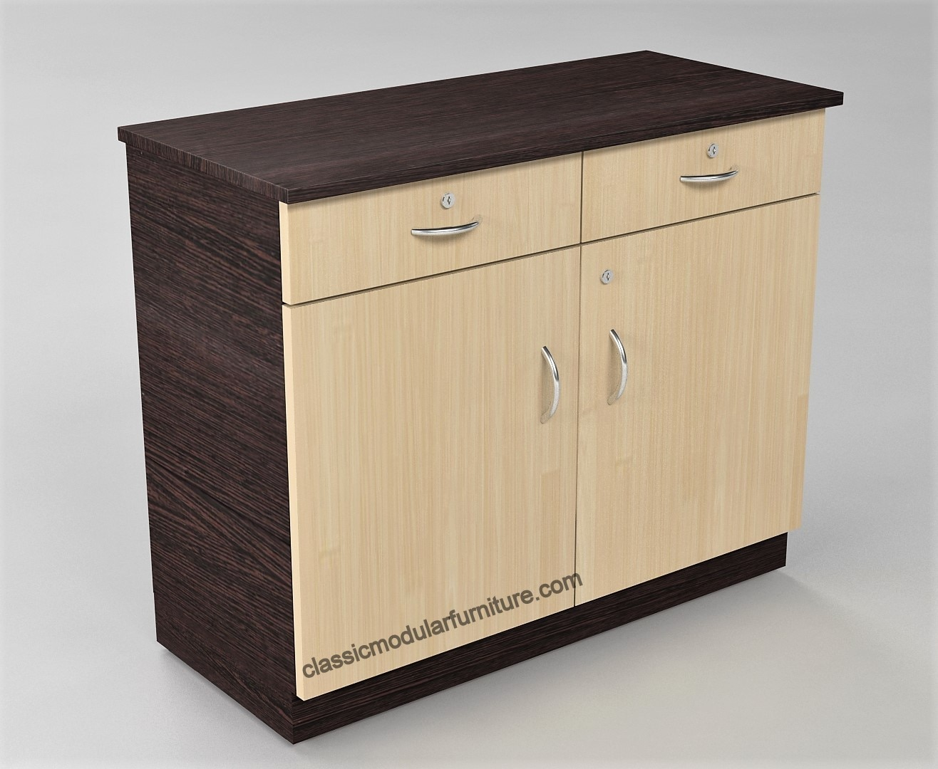 File Storage with 2 Drawers and 2 cabinets for Offices and Call Centers. Individual locks for all drawers and shutters. Made of high quality materials and finishing.